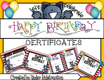 Cool Cat Theme Red and White Stripe Birthday Certficates