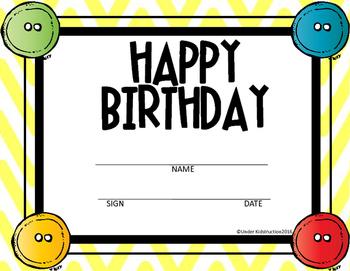 Cool Cat Theme Yellow Chevron Birthday Certificates