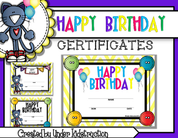 picture about Printable Birthday Certificates identify Birthday Certificates Printable (Yellow Chevron Interesting Cat Topic)
