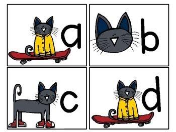 Groovy Cat Themed Alphabet Match-Up