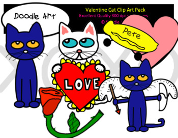 Cool Cat Valentine Clip Art Pack