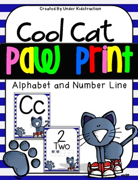Cool Cat with paw print Theme Alphabet and Number Posters