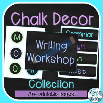 Cool Colors Chalk Decor Collection | 70+ Pages | 19 Editable Pages