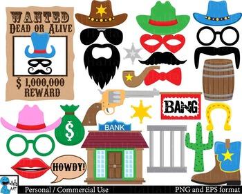 Cool Cowboy Props - Digital Clip Art Personal, Commercial Use 164 images cod190