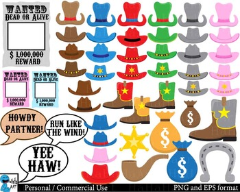 Cool Cowboy Props - Digital Clip Art Personal, Commercial Use 164 images cod190