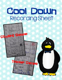 Cool Down Recording Sheet