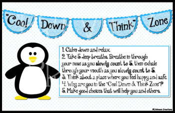 """Cool Down & Think"" Zone Poster"