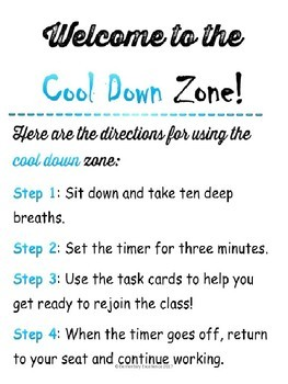 Cool Down Zone Editable Sign and Task Cards