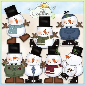 Cool Dudes Clip Art - Christmas Snowman Clip Art - CU Colored Clip Art