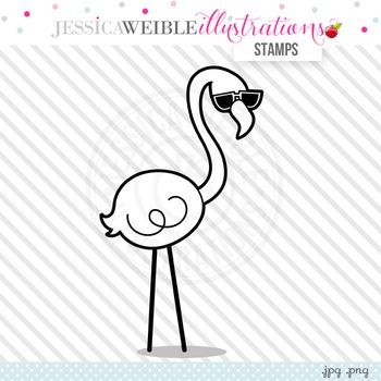 Cool Flamingo Cute Digital B&W Stamp, Cute Flamingo Line Art, Blackline