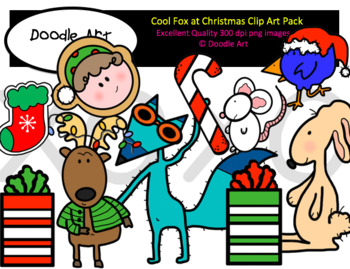 Cool Fox at Christmas Clipart Pack