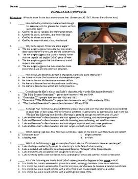 Cool Hand Luke Film (1967) 20-Question Matching and Multiple Choice Quiz