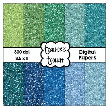 Cool Hues Glitter Digital Papers {8.5 x 11} Clip Art CU OK