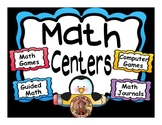 Math Center Rotation Editable PowerPoint Penguin Themed