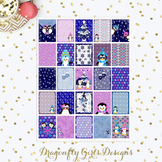 Cool Penguins 25 Squares Large Boxes Printable Planner Stickers