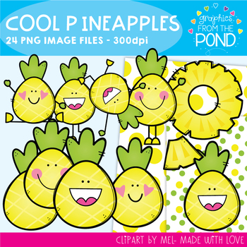 Cool Pineapples Clipart Set