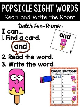 Cool Popsicle Read and Write the Room {Kindergarten}