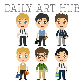 Cool School Boys Clip Art - Great for Art Class Projects!