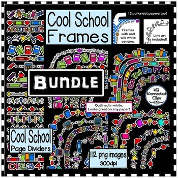 Frames and  Page Dividers - Cool School Bundle