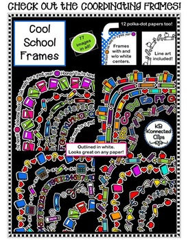 Cool School Page Dividers - Color & Line Art