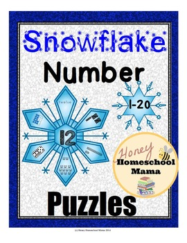 Cool Snowflake Number Puzzles Activity and Workbook in Color and B/W 1-20