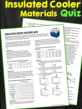 Cooler Insulation Materials Design Challenge Quiz