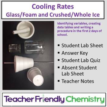 Chem Lab: Cooling Rate of Hot Water, Styrofoam vs Glass, Crushed vs Whole Ice