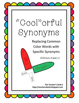 """""""Cool""""orful Synonyms Common Core Aligned Literacy Center"""