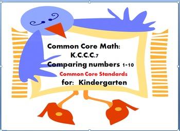 Common Core K.C.C.C.7: Comparing Numbers 1-10