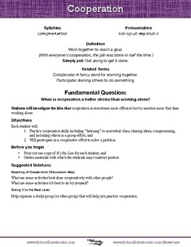 Cooperation Character Lesson Plan