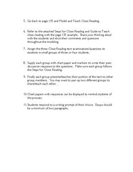"Cooperative Close Reading Lesson for ""Baseball Camp"" by David Klass"