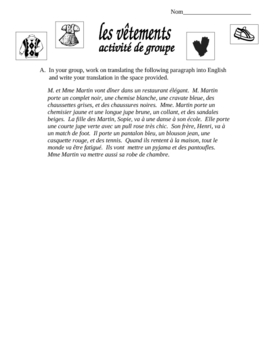 Cooperative Group Activity on French Clothing.