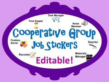 38be31ccfa Cooperative Group Job Stickers - Editable to meet your needs. by Windup  Teacher
