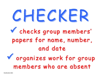 Cooperative Group Roles: Checker