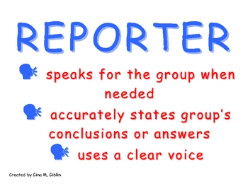 Cooperative Group Roles: Reporter