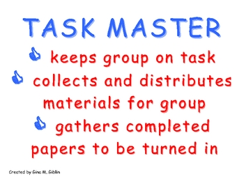 Cooperative Group Roles: Task Master