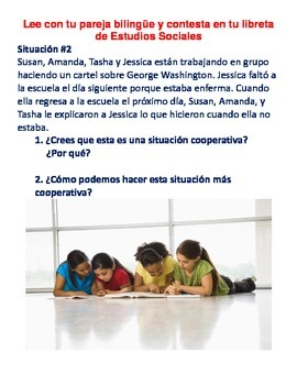 Cooperative Learning Activity for Social Studies Center in Spanish and English