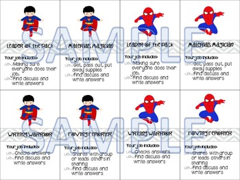 Cooperative Learning Cards - Superhero theme