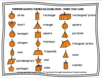 Cooperative Learning Dazzling Duos Pairs that Care Pumpkin Shapes