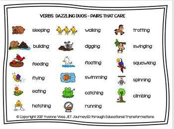 Cooperative Learning Dazzling Duos Pairs that Care Verbs
