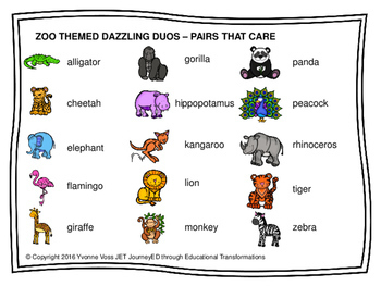 Cooperative Learning Dazzling Duos Pairs that Care Zoo Themed