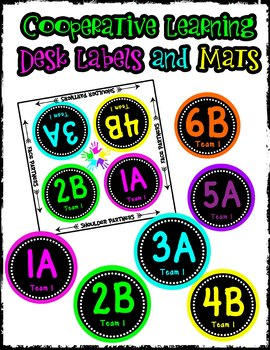 Cooperative Learning Desk Labels - Neon Theme