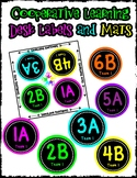 Cooperative Learning Desk Labels - Neon Theme - Includes E
