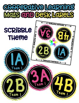 Cooperative Learning Desk Labels - Scribble Theme