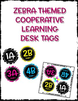 Cooperative Learning Desk Labels - Zebra Theme