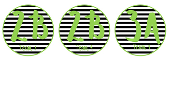 Cooperative Learning Desk Labels- black&white stripes/green theme