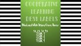 Cooperative Learning Desk Labels- black&white stripes/green theme