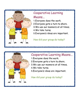 Cooperative Learning Focus Cards