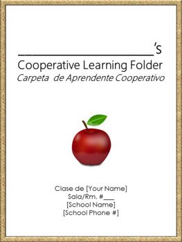 Cooperative Learning Folder Cover Sheet - Bilingual - Burlap Border