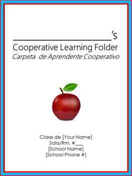 Cooperative Learning Folder Cover Sheet - Bilingual - Dr. Seuss Tribute Colors